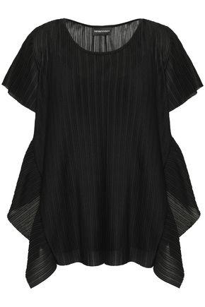 EMPORIO ARMANI Draped plissé-jersey top