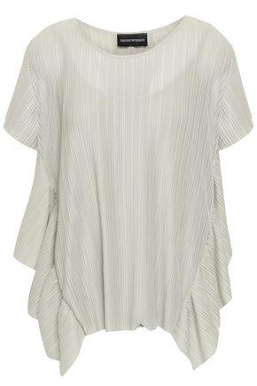 EMPORIO ARMANI Ruffled plissé-jersey top