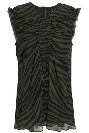 PROENZA SCHOULER Ruched zebra-print silk-georgette top