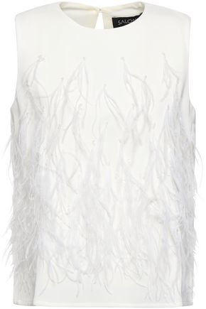 SALONI Beth feather-embellished twill top