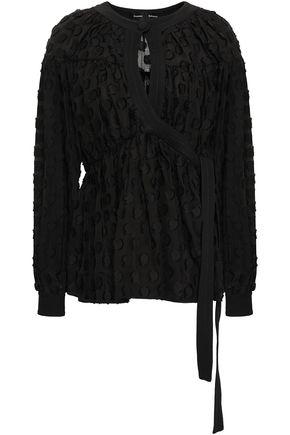 PROENZA SCHOULER Wrap-effect fil coupé silk and cotton-blend blouse