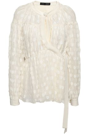 PROENZA SCHOULER Wrap-effect fil coupé silk and cotton-blend blouse