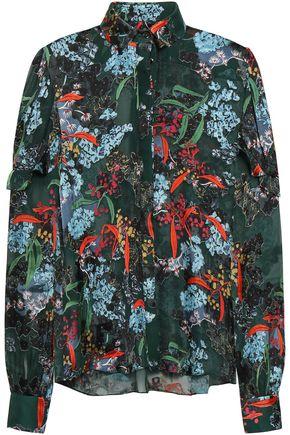 SALONI Myra ruffled printed devoré shirt