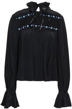 SALONI Embellished silk crepe de chine blouse