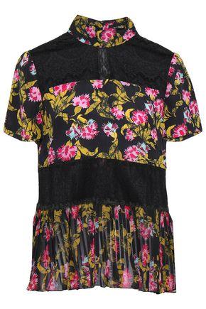 SALONI Corded lace-paneled silk-georgette blouse
