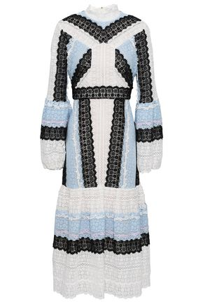 ERDEM Gathered cotton and silk-blend guipure lace midi dress