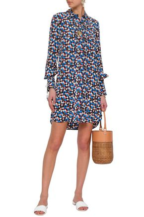 b2cc50b8c0c TORY BURCH Pleated printed silk mini shirt dress
