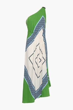 TORY BURCH One-shoulder ruched printed silk midi dress