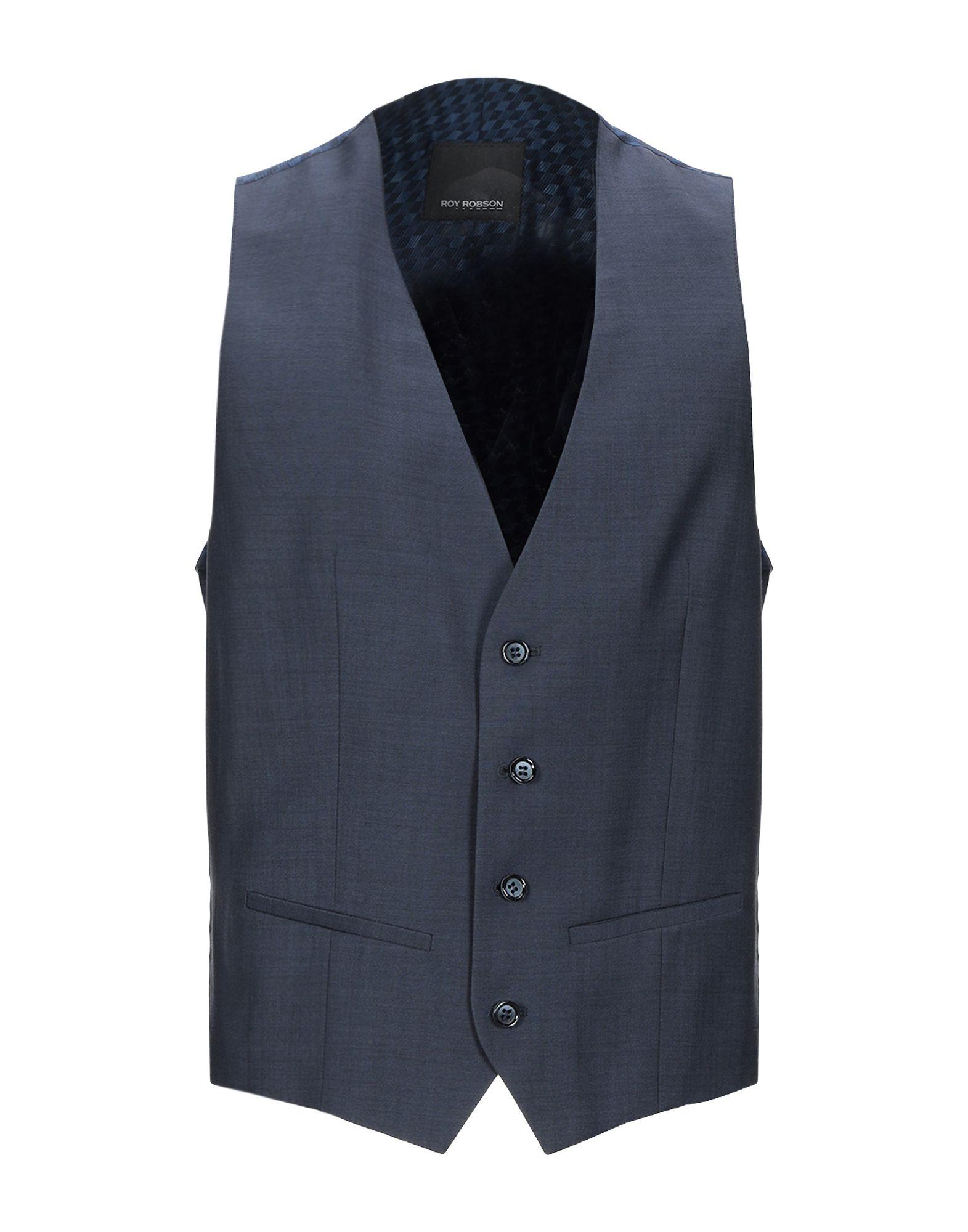 《セール開催中》ROY ROBSON メンズ ジレ ブルー 54 バージンウール 100%