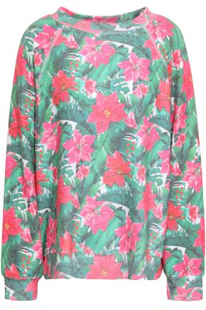 WILDFOX Brushed floral-print stretch-jersey sweater