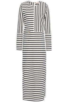 TORY BURCH Striped cotton-jersey midi dress