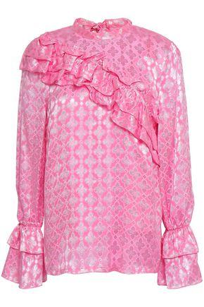 BAUM UND PFERDGARTEN Ruffled metallic jacquard blouse