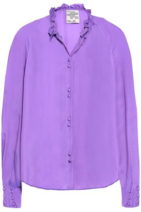 BAUM UND PFERDGARTEN Ruffle-trimmed satin-crepe shirt