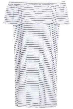 SUNDRY Off-the-shoulder striped cotton-blend jersey mini dress