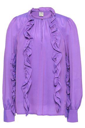 BAUM UND PFERDGARTEN Ruffled printed crepe de chine blouse
