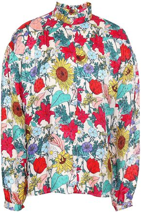 BAUM UND PFERDGARTEN Floral-print hammered silk-jacquard blouse