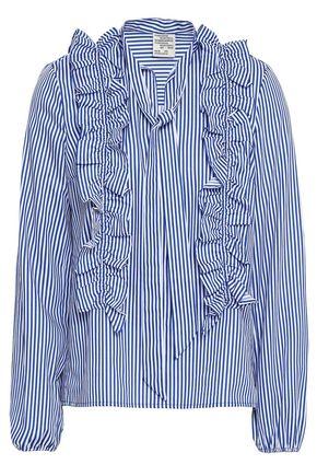 BAUM UND PFERDGARTEN Striped cotton-blend poplin blouse