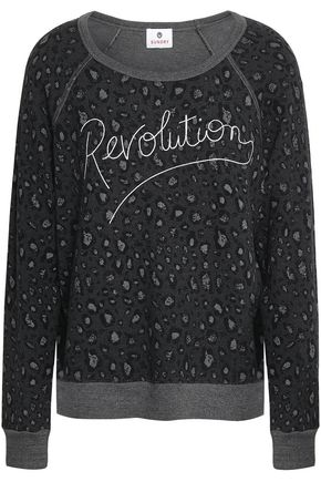 SUNDRY Embroidered leopard-print French terry sweatshirt