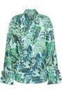 BAUM UND PFERDGARTEN Ruffle-trimmed printed satin-crepe shirt