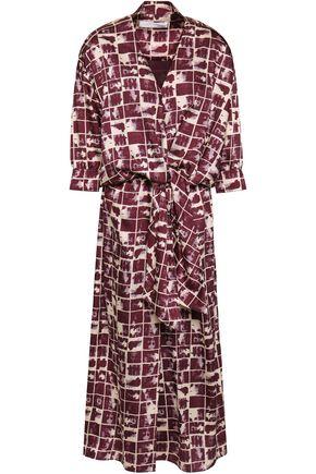 VICTORIA, VICTORIA BECKHAM Tie-front printed satin-twill midi dress