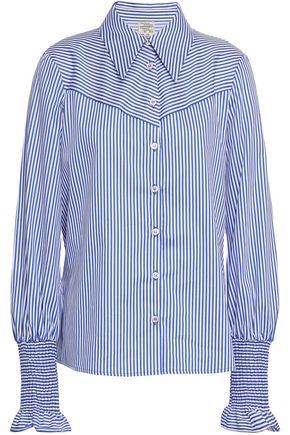 BAUM UND PFERDGARTEN Shirred striped cotton-blend poplin shirt