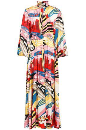 MSGM Printed satin midi dress
