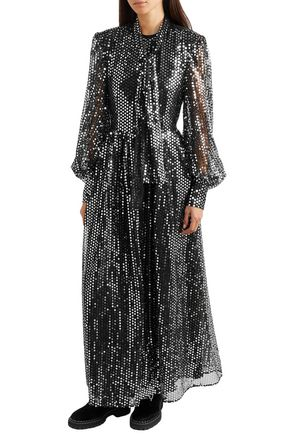 MSGM Sequined tulle ankle dress