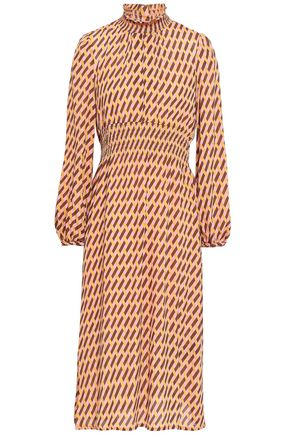 BAUM UND PFERDGARTEN Shirred crepe de chine midi dress
