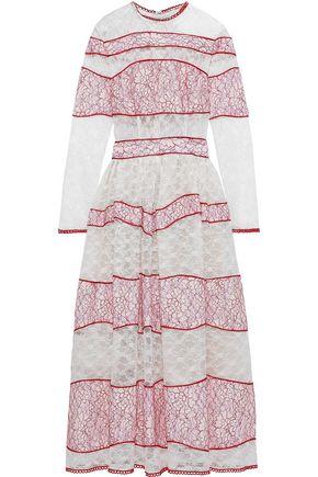 COSTARELLOS Striped corded lace midi dress
