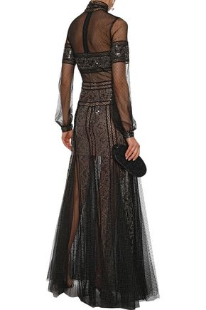 COSTARELLOS Pleated sequined tulle and metallic point d'esprit gown