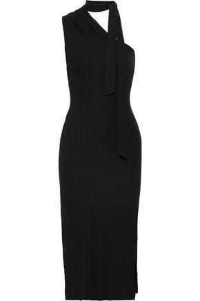 THE RANGE One-shoulder tie-neck ribbed-knit midi dress