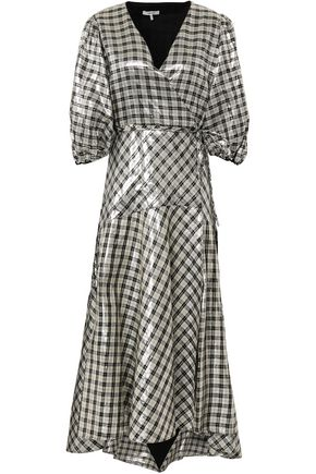 GANNI Checked metallic silk-blend midi wrap dress