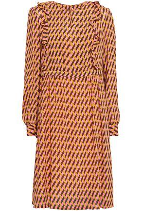 BAUM UND PFERDGARTEN Ruffle-trimmed printed crepe de chine dress