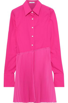 TOME Pleated crepe-paneled cotton-poplin shirt