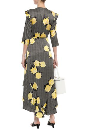 GANNI Calla printed stretch-silk satin midi wrap dress