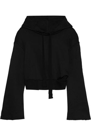 THE RANGE Cropped cutout French-terry hoodie