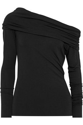 THE RANGE One-shoulder ruched stretch-jersey top