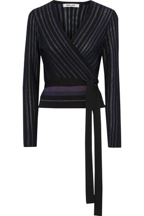 DIANE VON FURSTENBERG Metallic striped ribbed-knit wrap-top