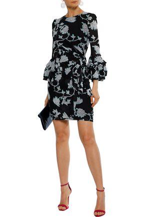 196d468c9d1ce DIANE VON FURSTENBERG Faridah floral-print mesh mini wrap dress