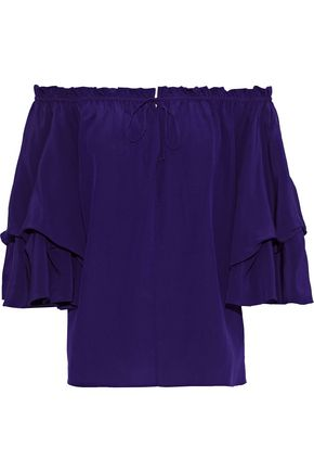 DIANE VON FURSTENBERG Georganne off-the-shoulder ruffled silk top
