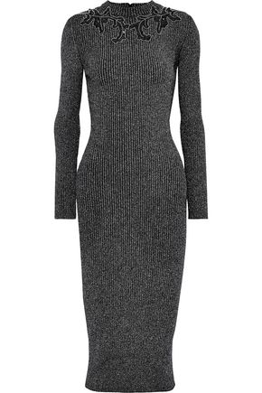 CHRISTOPHER KANE Embellished ribbed Lurex midi dress