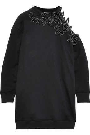 CHRISTOPHER KANE Cutout embellished French cotton-terry mini dress