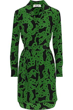 DIANE VON FURSTENBERG Prita printed silk crepe de chine mini shirt dress