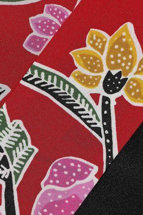 DIANE VON FURSTENBERG Paneled floral-print silk wrap top