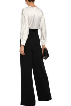 DIANE VON FURSTENBERG Marle wrap-effect satin and crepe jumpsuit