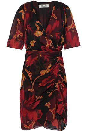 DIANE VON FURSTENBERG Kelda ruched floral-print silk-georgette mini dress