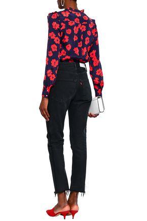 BAUM UND PFERDGARTEN Ruffle-trimmed crepe de chine blouse