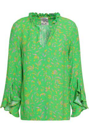 BAUM UND PFERDGARTEN Ruffle-trimmed floral-print crepe blouse