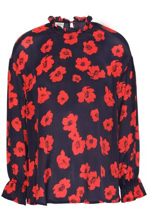 BAUM UND PFERDGARTEN Ruffle-trimmed floral-print crepe de chine blouse