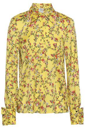 BAUM UND PFERDGARTEN Floral-print silk-blend twill shirt